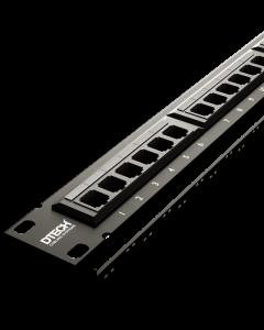 """DTECH Cat 6 U/UTP 24 Port 19"""" Patch Panel W/Management Bar"""